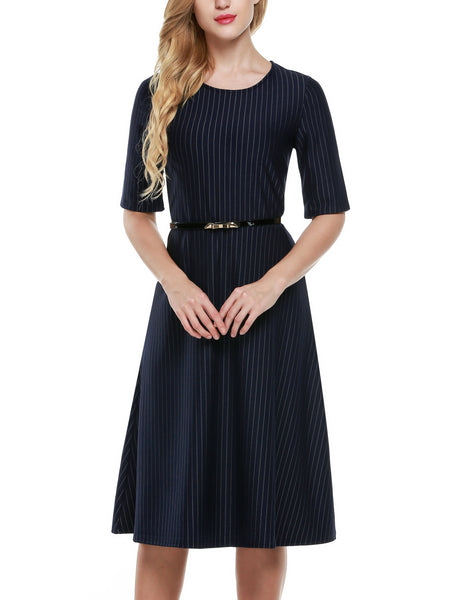 Dark blue Half Sleeve Stripe A-Line Midi Belted Dress