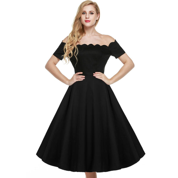 Red&Black Retro Off Shoulder Cap Sleeve Plain Swing Party Dress