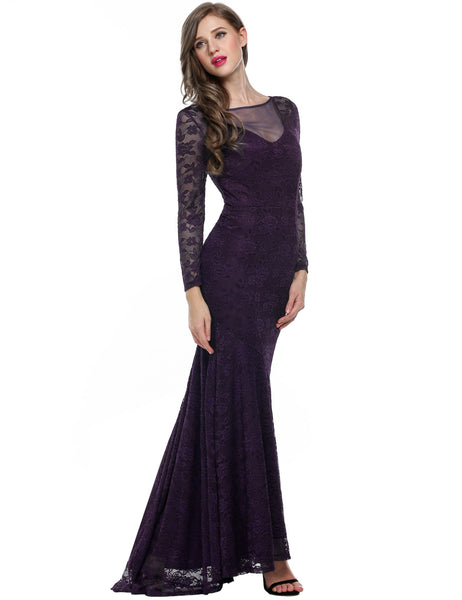 Purple Floral Lace Long Sleeve Maxi Wedding Bridesmaid Dresses