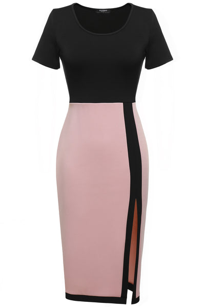 Pastel pink Women Short Sleeve Slim Fit Side Slit Bodycon Midi Work Dresses