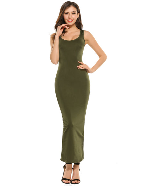 Sleeveless Slim Fit Solid Bodycon Tank Maxi Casual Dress