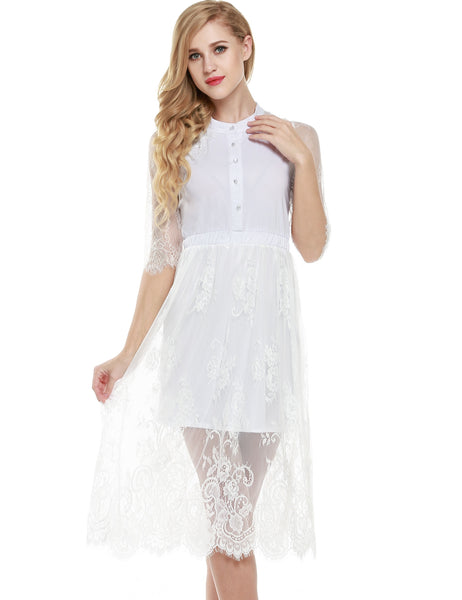 3/4 Sleeves Floral Lace A-Line Midi Party Dress