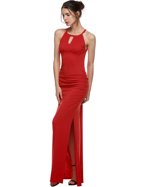 Off Shoulder Keyhole Ruched Side Slit Maxi Dress