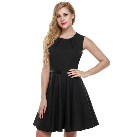 Women Sleeveless Casual Party Mini Pleated With Belt Work Dresses