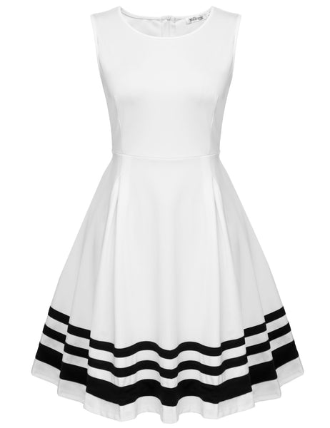 White Sleeveless Patchwork High Waist Slim Pleated Casual Dress