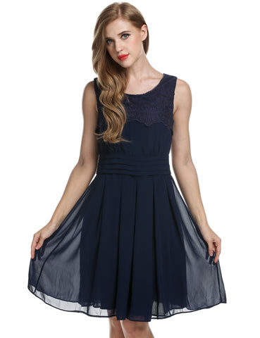 Dark blue Women Lace Chiffon Party Pleated Mini Work Dresses