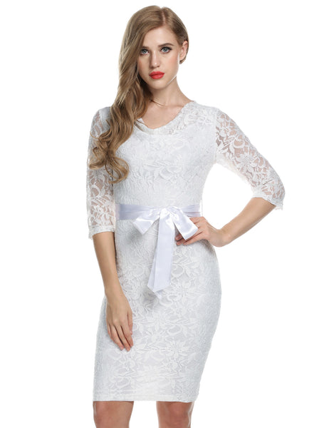 White Women Lace Floral 3/4 Sleeve Hip Slim Knee Party Dresses