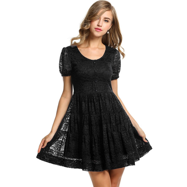 Black Women Short Sleeve Lace Floral Pleated Going Out Dresses
