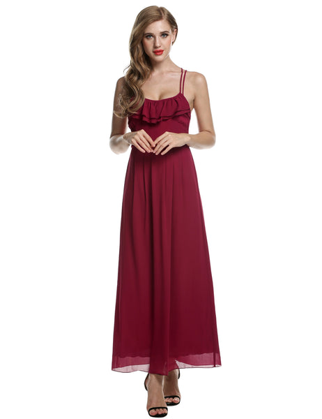 Women Chiffon Backless Cross Strap Ruffles Long Maxi Going Out Casual Dresses