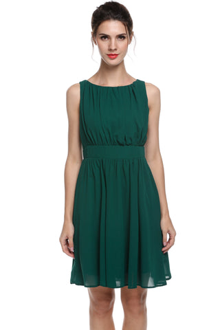 Dark green Women Sleeveless Draped Flare Fit Casual Wedding & Bridesmaid Dresses