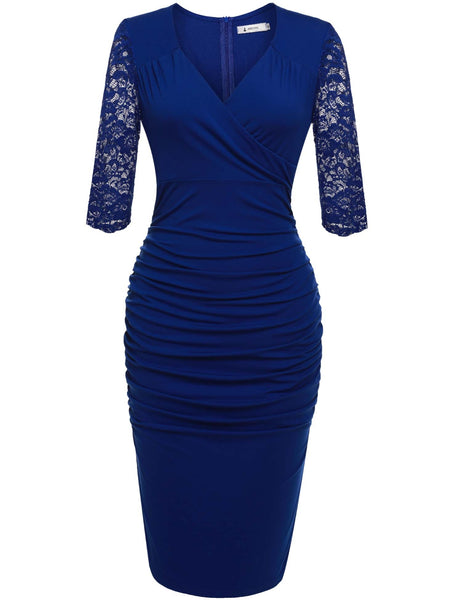 Plunge Neck Slim Lace Bodycon Pencil Party Dress
