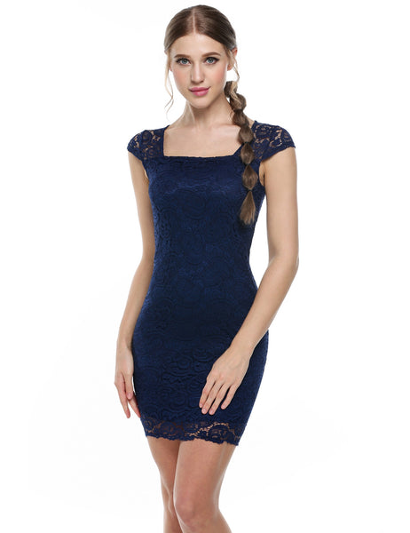 Blue Square Neck Cap Sleeve Lace Bodycon Party Dress