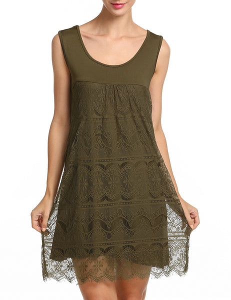 Army green Sleeveless Lace Patchwork Floral Hollow Casual Dress