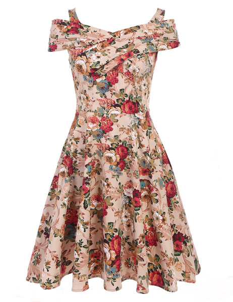 Khaki Women Vintage Style Print Sleeveless Retro Pleated Swing Casual Dresses