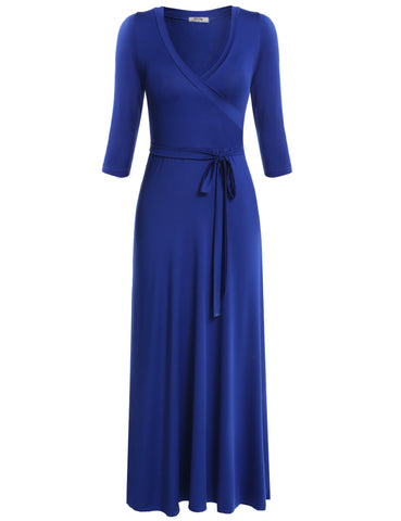 3/4 Sleeve Maxi Dress V-neck High Waist Banquet Evening Dress