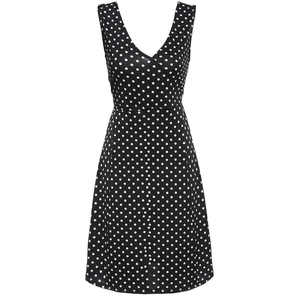 Ladies Women Summer Tank V-neck Polka Dots Slim Fitted Stretch Knee-Length Casual Going Out Dresses