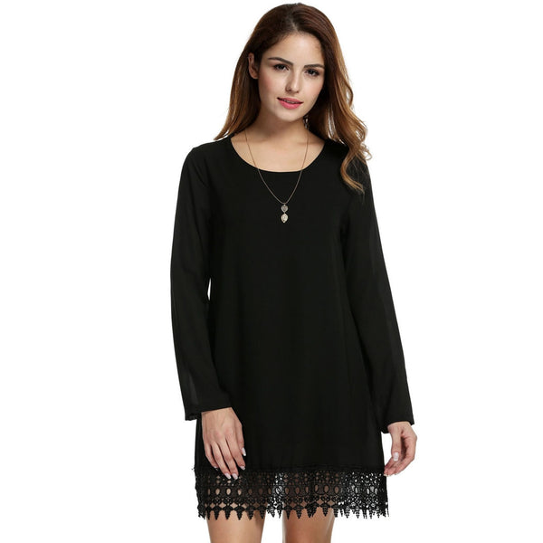 Black Long Sleeve Crochet Lace Fringed A-Line Casual Dress