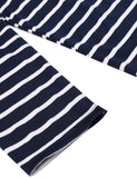 Navy Blue&White Women Fashion O-Neck Slim Striped Mini Work Casual Dresses