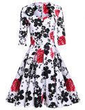 Red 1950s 3/4 Sleeve Pleated Dress Floral Large Swing Vintage Style Slim Party Calf Dress