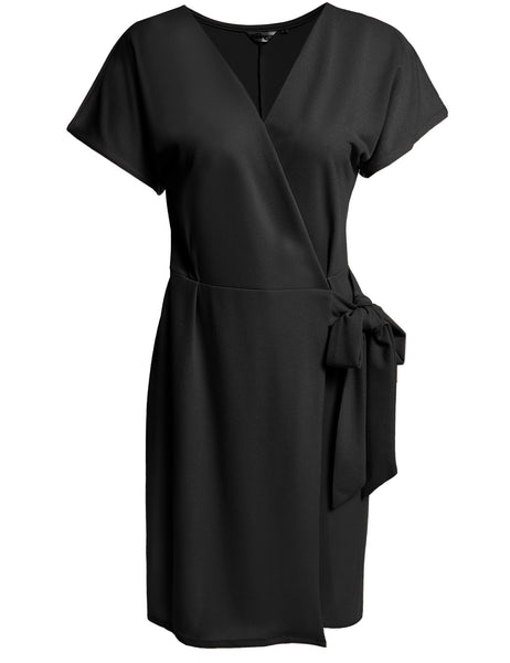 Women's V-Neck Batwing Sleeve Solid Lace Up Belted Knee Length Wrap Work Dresses