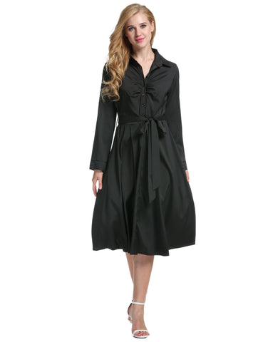 1950s Turn Down Collar Shirt Long Sleeve Belt Swing Casual Dress