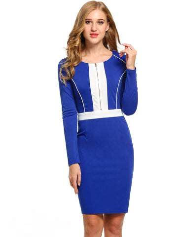 Dark blue New Women Casual O-Neck Long Sleeve Contrast Color Work Dresses