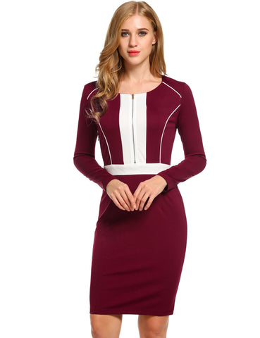 Red New Women Casual O-Neck Long Sleeve Contrast Color Work Dresses