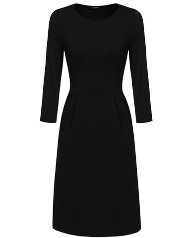 3/4 Sleeve O-Neck A-Line Pocket Solid Work Dress