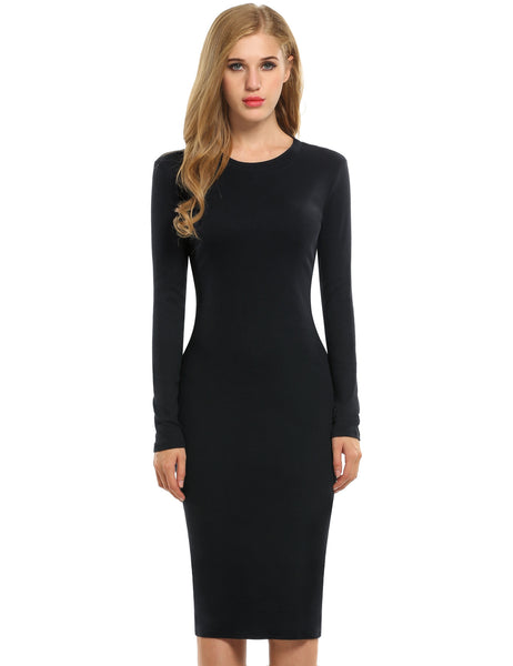 Black New Fashion Women Solid Long Sleeve Slim Bodycon Pencil Going Out Dresses