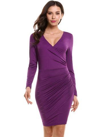 Purple New Women Sexy V-Neck Long Sleeve Solid Front Cross Elastic Pleated Wrap Dress