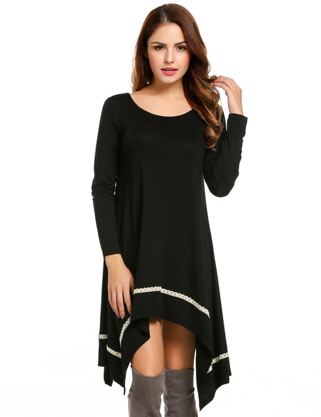 Black Long Sleeve Loose Irregular Lace Hem Tunic Casual Dress