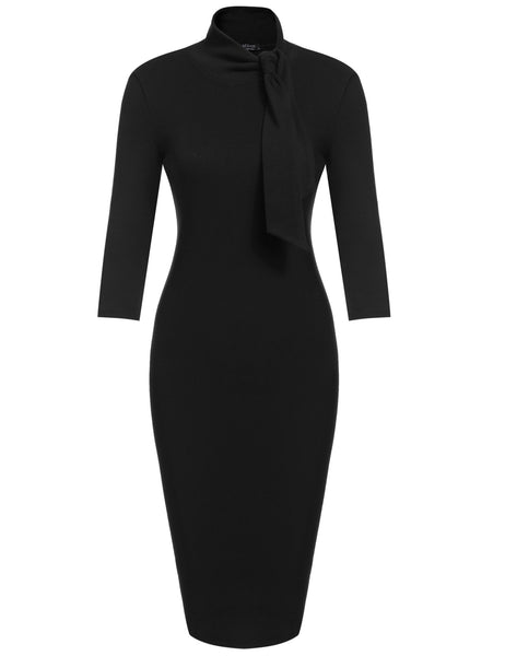 Black Bow Turtleneck 3/4 Sleeve Bodycon Pencil Going Out Dress