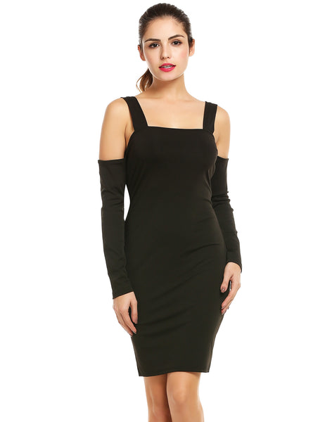Black Long Sleeve Cold Shoulder Solid Bandage Bodycon Pencil Cocktail Evening Party Short Going Out Dresses