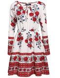 Bohemian Style O-Neck Long Sleeve Floral Casual Dress