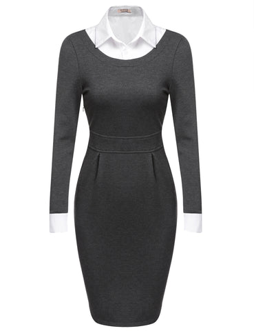 Dark gray Women Turn Down Collar Long Sleeve Bodycon Business Pencil Work Dresses