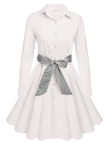 White Turn Down Collar Button Down Swing Shirt Belted Dress