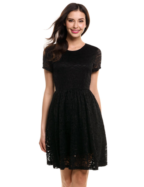 Short Sleeve Floral Lace Party Cocktail Pleated Dress