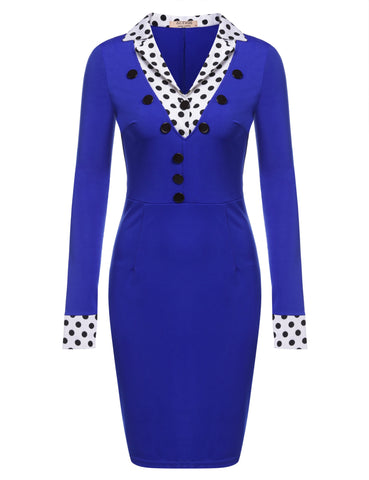 Blue New Women Long Sleeve Turn-down Collar Vintage Styles Dot Pencil Work Dresses