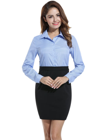 Women Long Sleeve Plaid Slim Pencil Short Shirt Work Dresses