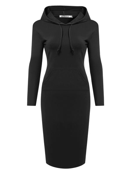 Long Sleeve Bodycon Hoodie Casual Dress with Pockets
