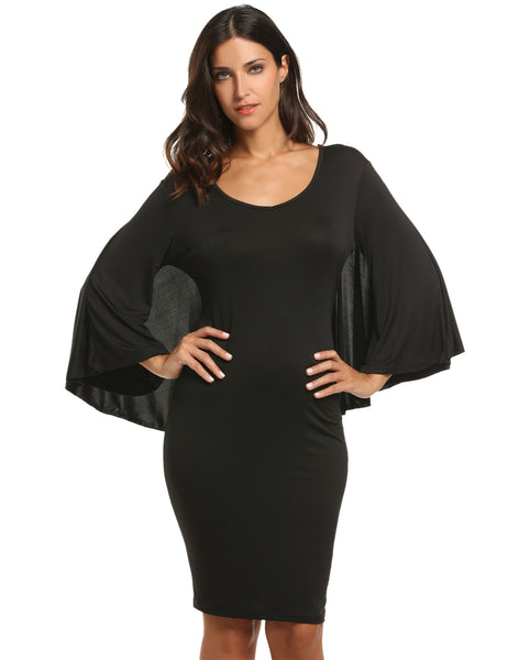Black Women Flare Sleeve Solid Bodycon Knee Cape Pencil Plus Size Party Dresses