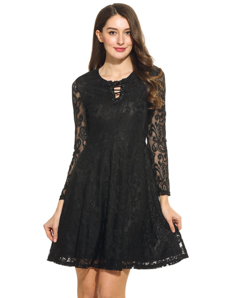 Women Lace Up O-Neck Long Sleeve Floral Lace Cocktail Party Skater Dress