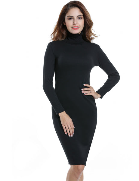 Turtleneck Long Sleeve Bodyson Stretch Going Out Dress