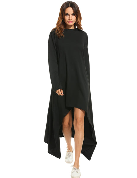Gray Hooded Asymmetrical Hem Loose Maxi Tunic Casual Dress