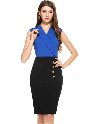 Blue Women Casual Sleeveless V Neck Pullover Pencil Work Dresses