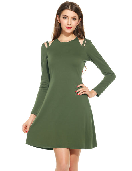 Army green Women Fashion Halter Long Sleeve Off the Shoulder A-Line Solid Mini Dress