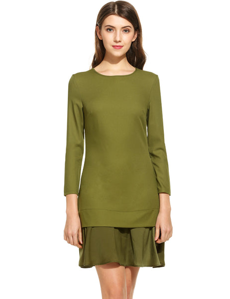Army green Women Casual Long Sleeve Solid O Neck Slim Fashion Dress