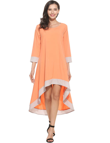 White New Women Casual O-Neck Long Sleeve Patchwork Pleated Asymmetrical Hem Pullover Dress