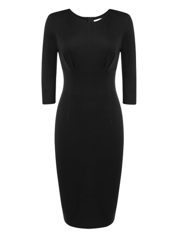 Black 3/4 Sleeve Solid Business Bodycon Pencil Work Dress