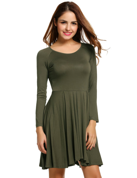 Army green Women O-Neck Long Sleeve Solid Color Pleated Casual Dresses